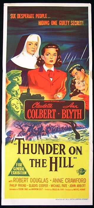 THUNDER ON THE HILL Original Daybill Movie Poster Claudette Colbert