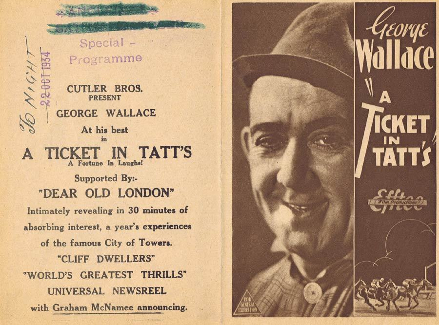 A TICKET IN TATTS 1934 F.W.Thring Movie Herald Australian Cinema Classic Melbourne Cup content