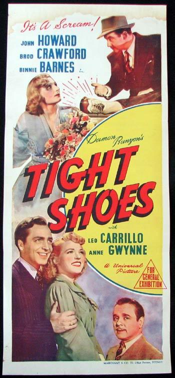 DAMON RUNYAN'S TIGHT SHOES Movie poster John Howard Brod Crawford Binnie Barnes MARCHANT daybill