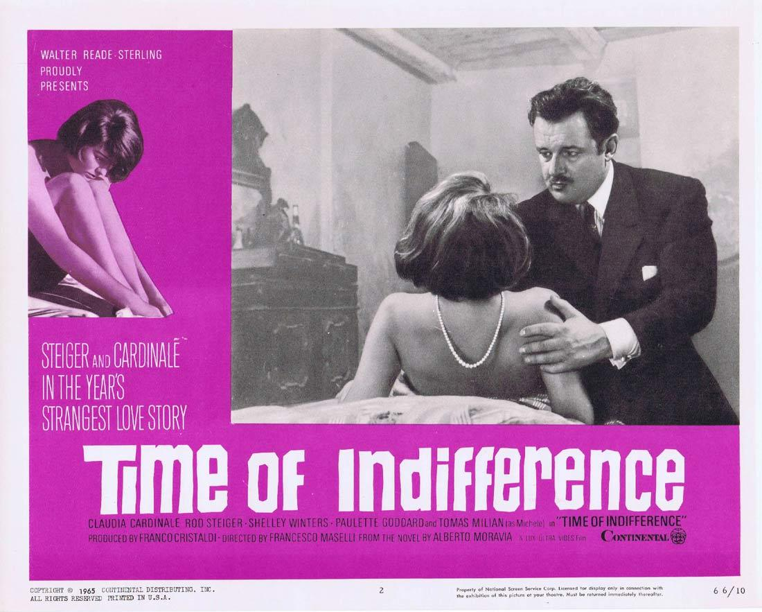 TIME OF INDIFFERENCE Lobby Card 2 Claudia Cardinale Rod Steiger Paulette Goddard Shelley Winters