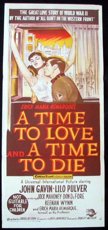 A TIME TO LIVE A TIME TO DIE Movie poster John Gavin Lilo Pulver - A Time to Love and a Time to Die (1958)