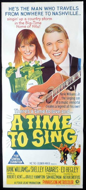 A TIME TO SING Original Daybill Movie poster Hank Williams Country Music