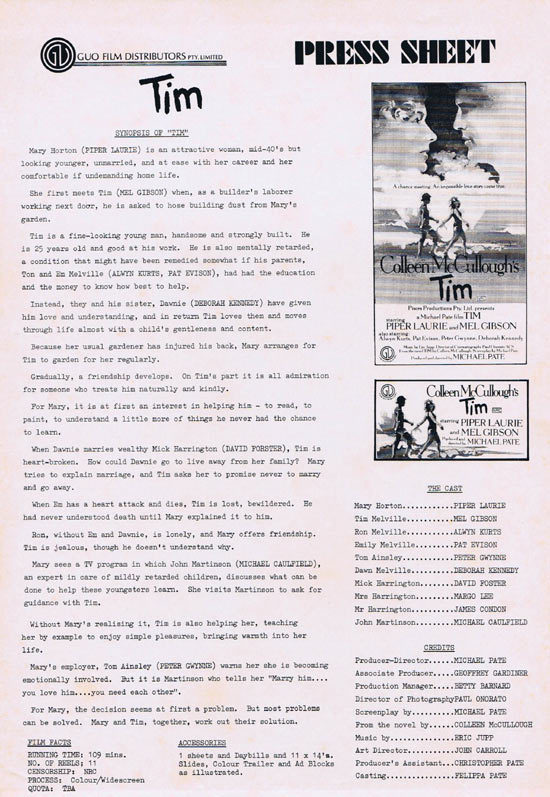 TIM Rare AUSTRALIAN Movie Press Sheet