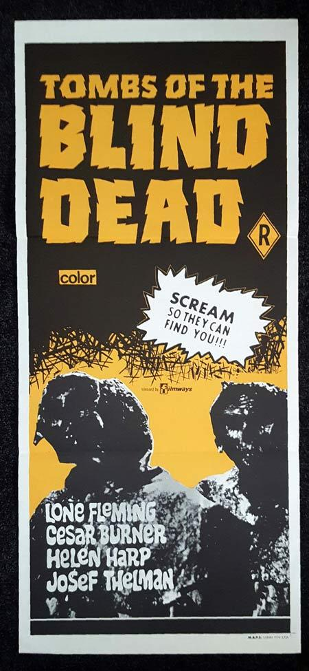 TOMBS OF THE BLIND DEAD Daybill Movie poster Zombie Horror