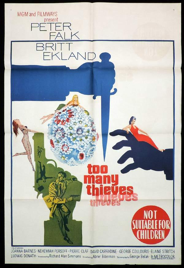 TOO MANY THIEVES One Sheet Movie Poster Peter Falk
