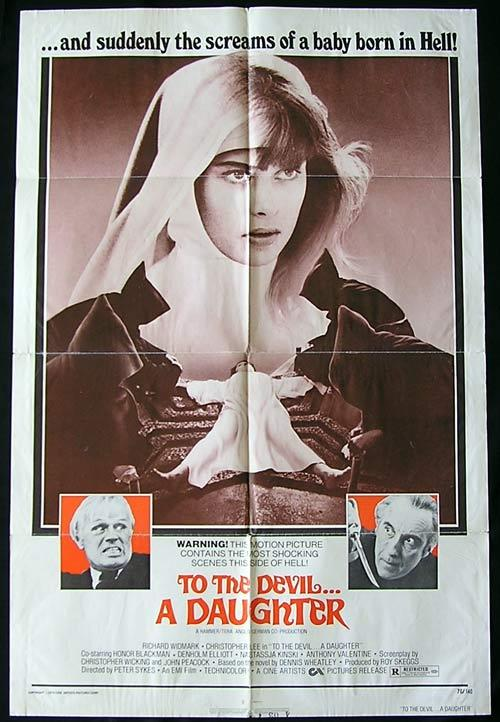 TO THE DEVIL A DAUGHTER '76 Widmark Christopher Lee HAMMER US 1 sheet poster