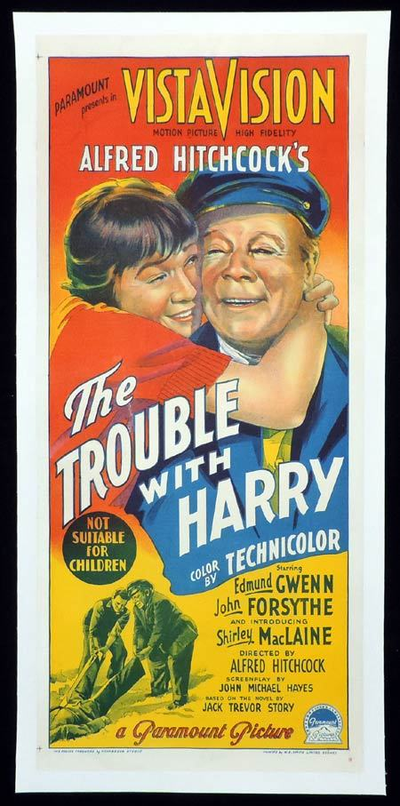 THE TROUBLE WITH HARRY Daybill Movie poster ALFRED HITHCOCK Linen Backed