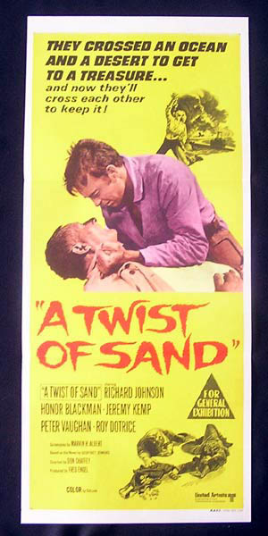 A Twist of Sand, Movie Poster, Australian Daybill, Don Chaffey, Richard Johnson, Honor Blackman, Jeremy Kemp, Peter Vaughan, Roy Dotrice