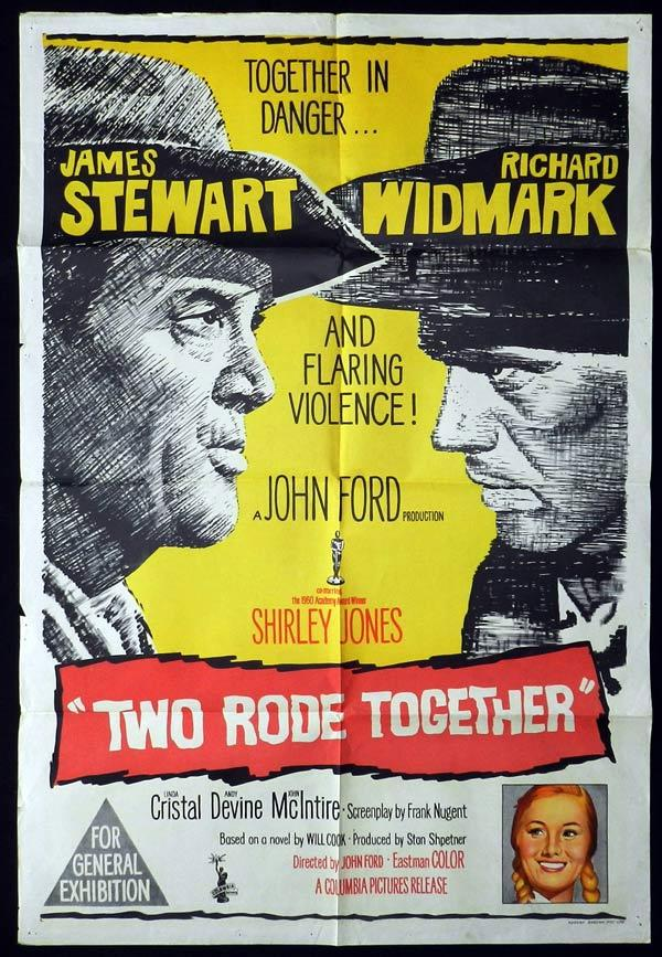 TWO RODE TOGETHER One Sheet Movie Poster John Ford James Stewart