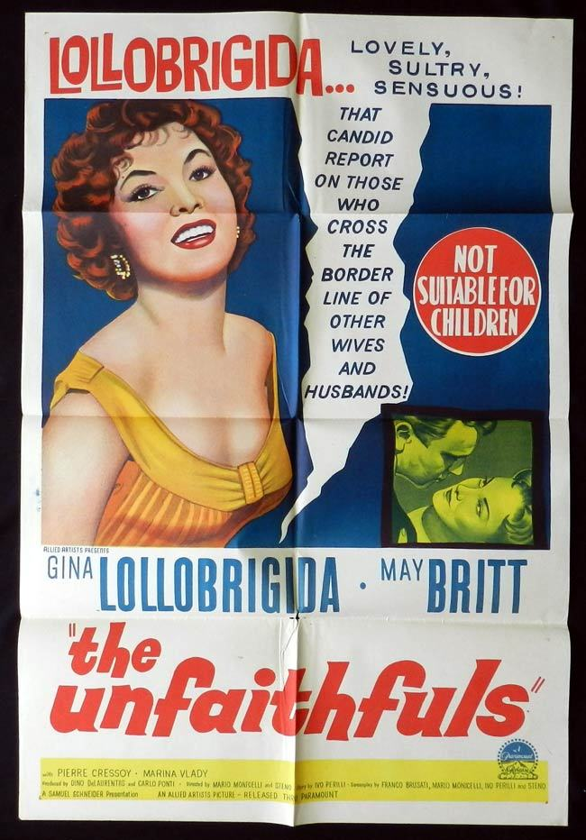 THE UNFAITHFULS One sheet Movie poster Gina Lollobrigida