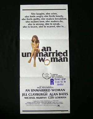 AN UNMARRIED WOMAN Daybill Movie Poster Alan Bates Jill Clayburgh