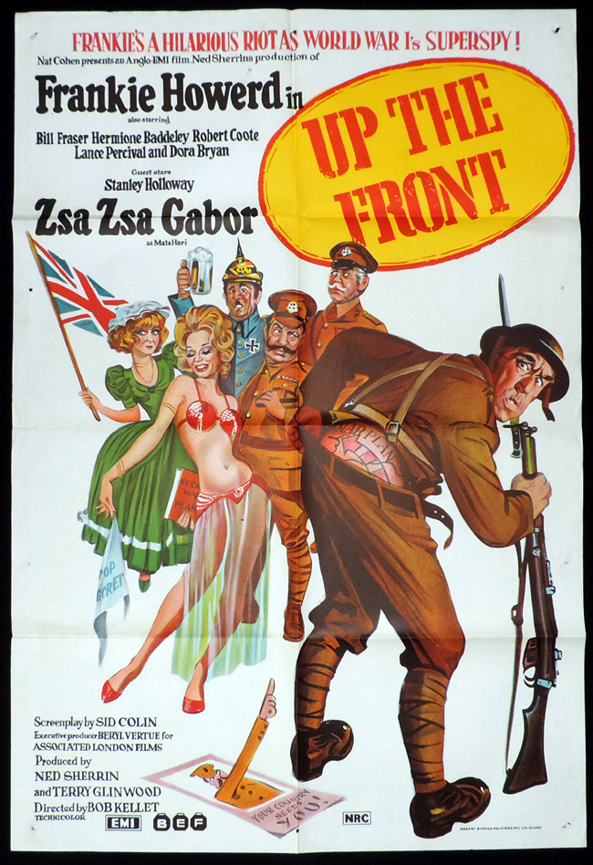 Up the Front, Bob Kellett, Frankie Howerd, Madeline Smith, Bill Fraser, Dora Bryan, Stanley Holloway, Zsa Zsa Gábor, Lance Percival, Mike Grady, Barrie Gosney, Veronica Clifford, Jonathan Cecil, Peter Greenwell, Nicholas Bennett, William Mervyn, Bob Hoskins, Linda Gray, Stanley Holloway, Jonathan Cecil, Peter Greenwell, Peter Greenwell