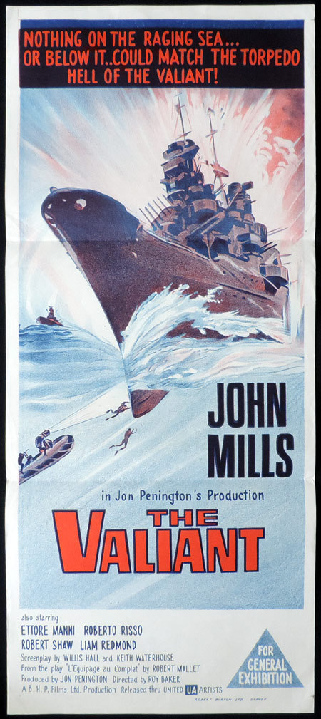THE VALIANT Daybill Movie poster John Mills Hammer Film