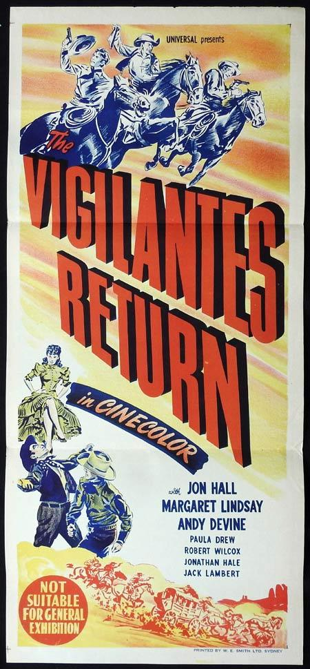 THE VIGILANTES RETURN Original Daybill Movie Poster Jon Hall Western