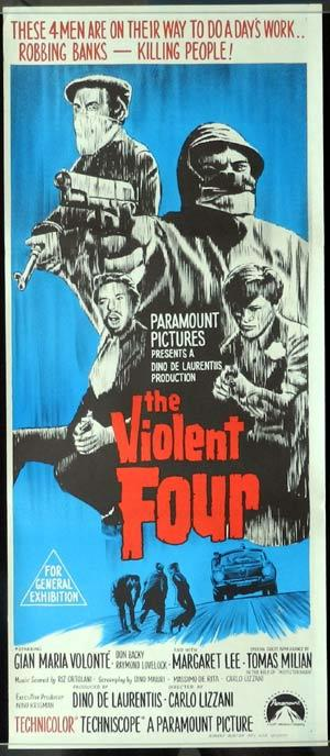 THE VIOLENT FOUR 1968 Gian Maria Volante Daybill Movie poster Bandits in Milan