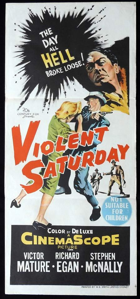 VIOLENT SATURDAY Original Daybill Movie Poster Victor Mature FILM NOIR Lee Marvin
