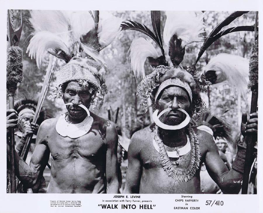 WALK INTO HELL Original Movie Still 4 New Guinea Tribesmen Walk Into Paradise