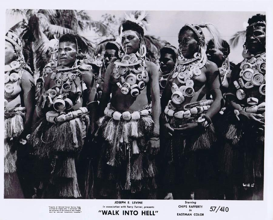 WALK INTO HELL Original Movie Still 5 New Guinea Tribesmen Walk Into Paradise