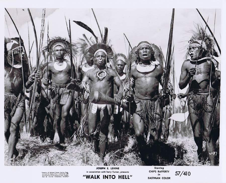WALK INTO HELL Original Movie Still 13 New Guinea Tribesmen Walk Into Paradise