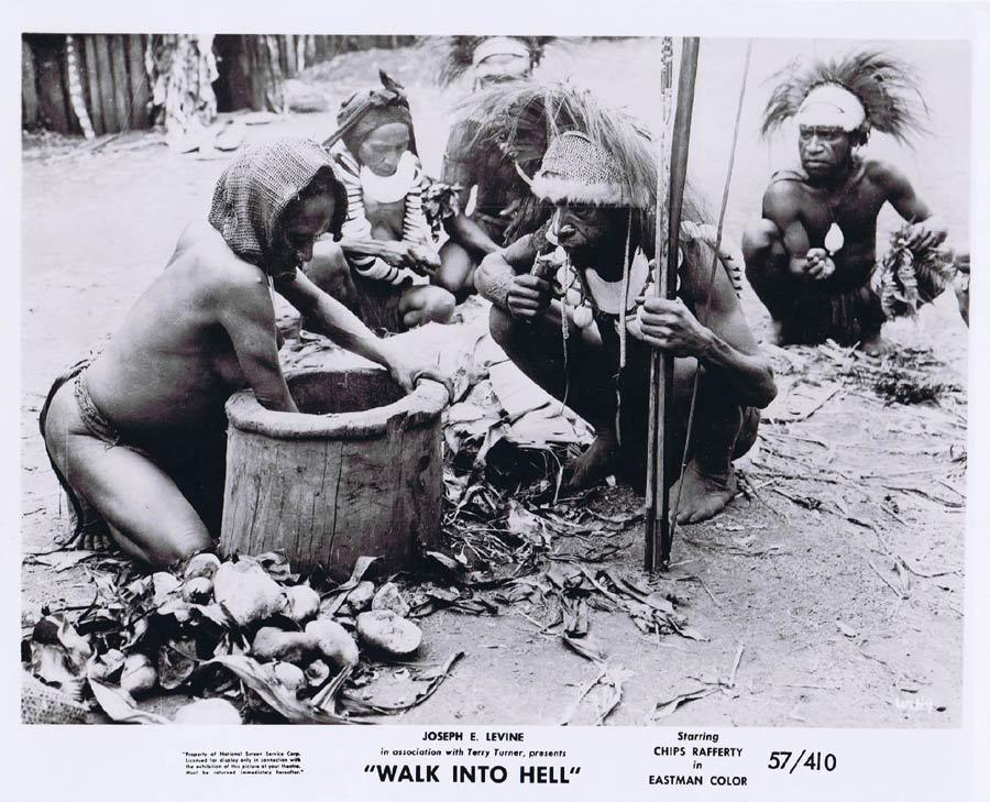 WALK INTO HELL Original Movie Still 18 New Guinea Tribesmen Walk Into Paradise