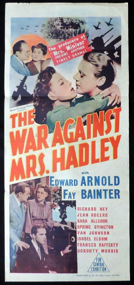 THE WAR AGAINST MRS HADLEY Original Daybill Movie Poster Edward Arnold