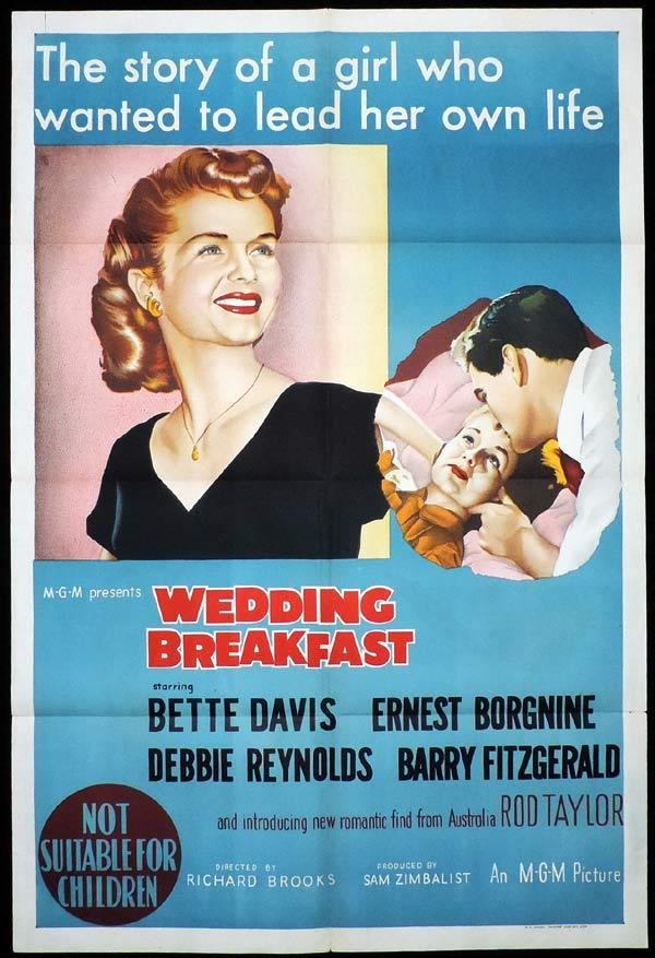 WEDDING BREAKFAST One sheet Movie poster Bette Davis Rod Taylor