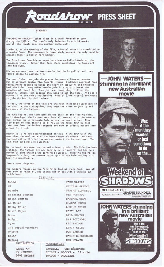 WEEKEND OF SHADOWS Rare AUSTRALIAN Movie Press Sheet John Waters
