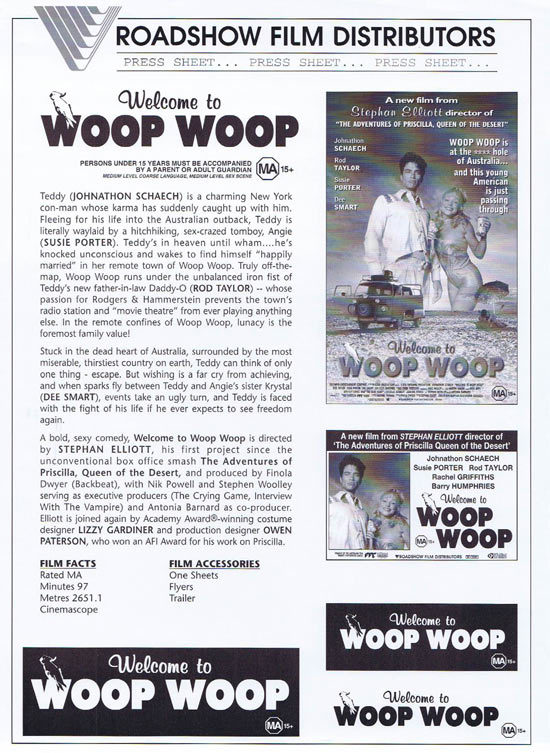 WELCOME TO WOOP WOOP Rare AUSTRALIAN Movie Press Sheet