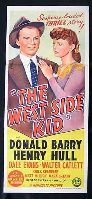 "THE WEST SIDE KID Daybill Movie poster Don ""Red"" Barry Film Noir Crime"