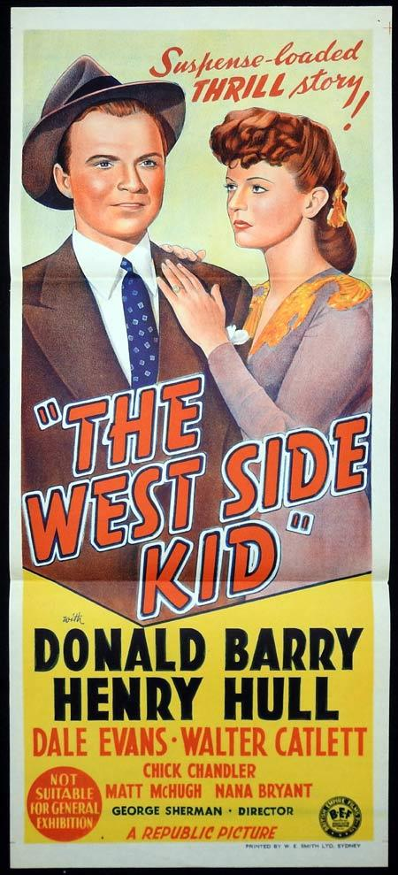 "THE WEST SIDE KID Original Daybill Movie Poster Don ""Red"" Barry Henry Hull Dale Evans"