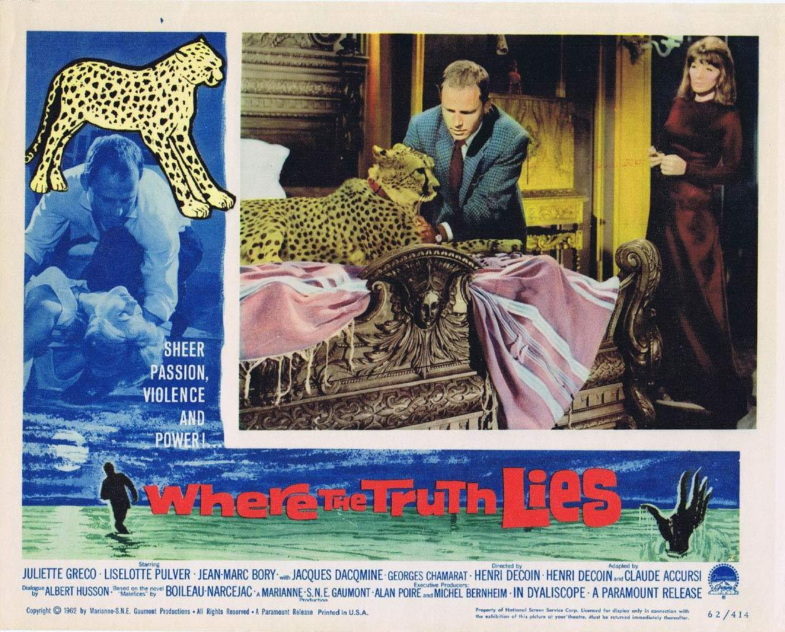 WHERE THE TRUTH LIES Lobby Card 2 Maléfices Juliet Greco Leopard