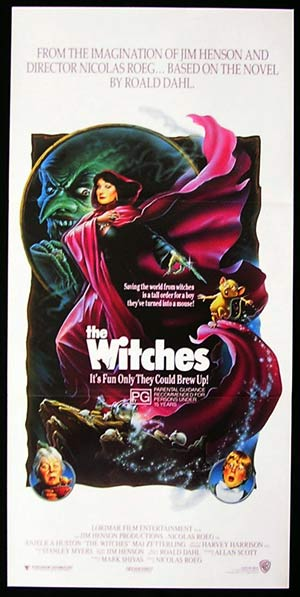 THE WITCHES 1990 Nicolas Roeg Roald Dahl daybill Movie poster