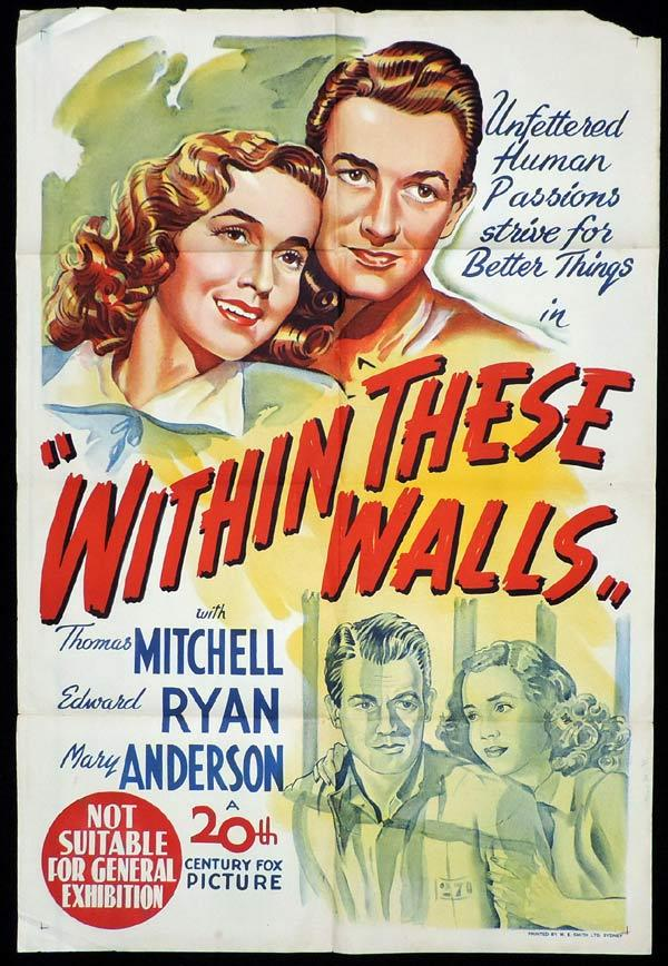 WITHIN THESE WALLS One Sheet Movie Poster Thomas Mitchell Mary Anderson