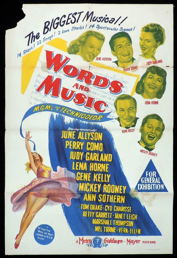WORDS AND MUSIC One sheet Movie poster Mickey Rooney Rodgers and Hart