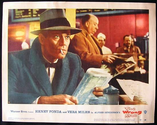 THE WRONG MAN Lobby card 6 Alfred Hitchcock Cameo!