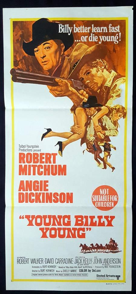 YOUNG BILLY YOUNG Original daybill Movie Poster Robert Mitchum Angie Dickinson