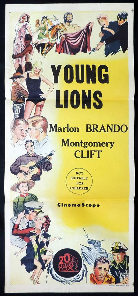 THE YOUNG LIONS Rare TWENTIETH CENTURY FOX Stock Blank Daybill Movie poster 1950s