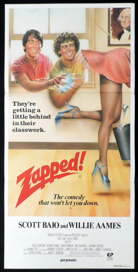 ZAPPED Original Daybill Movie Poster Scott Baio Willie Ames