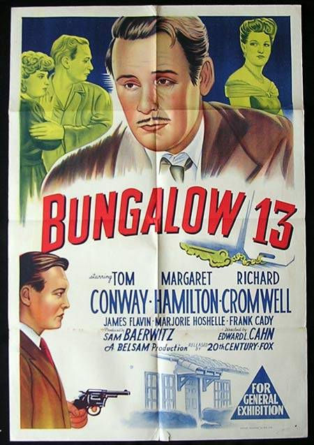 BUNGALOW 13 Movie Poster 1948 Tom Conway Film Noir 1sht