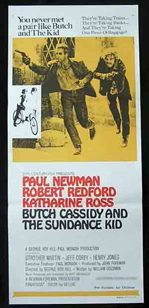 BUTCH CASSIDY AND THE SUNDANCE KID Original daybill Movie Poster