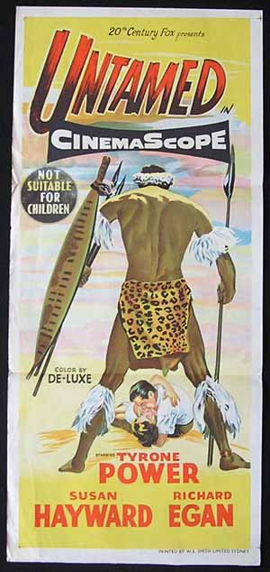UNTAMED Daybill Movie poster Susan Hayward Tyrone Power