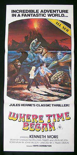 WHERE TIME BEGAN Original Daybill Movie poster Kenneth More Dinosaurs