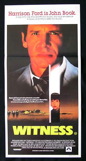 WITNESS '85-Peter Weir-Harrison Ford-ORIGINAL daybill