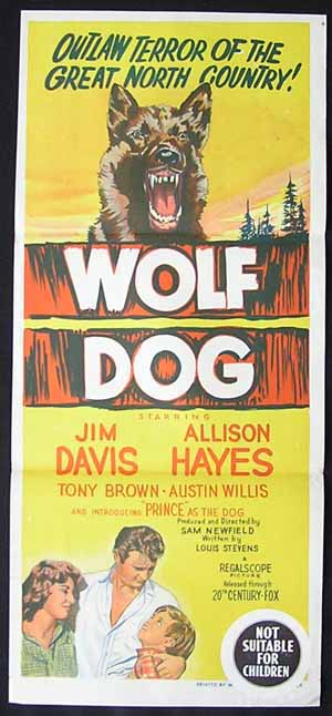 WOLF DOG Daybill Movie Poster 1958 Jim Davis