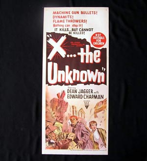 X THE UNKNOWN '56-Sci Fi Dean Jagger HAMMER daybill