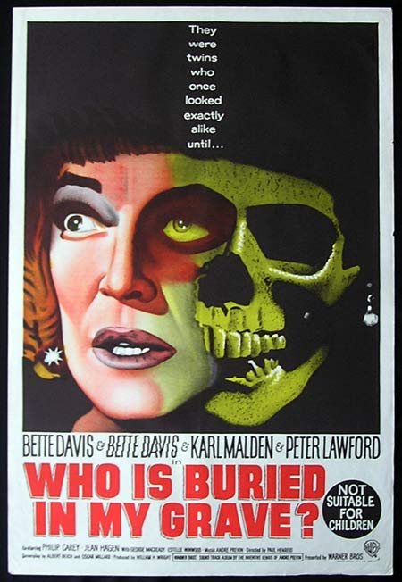 WHO IS BURIED IN MY GRAVE One sheet Movie poster Bette Davis DEAD RINGER