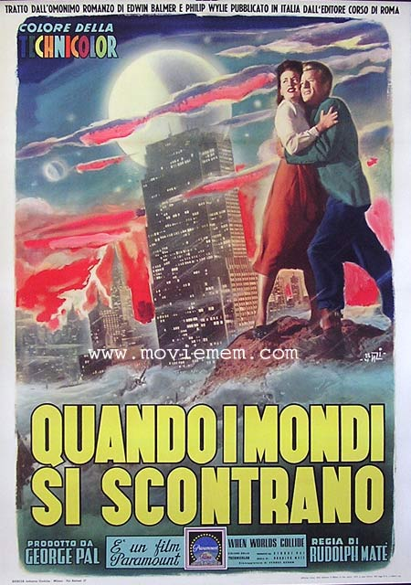 WHEN WORLDS COLLIDE Italian Movie Poster Fiorenzi art Linen Backed