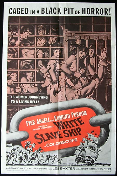 WHITE SLAVE SHIP '62-Purdom SLAVE TRADE poster