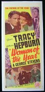 WOMAN OF THE YEAR '42-Katharine Hepburn-Spencer Tracy LINEN BACKED poster