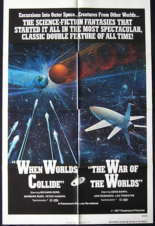 WHEN WORLDS COLLIDE and WAR OF THE WORLDS '77 Combo SCI FI US one sheet poster